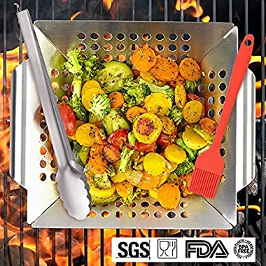 Kalrede Grill Basket BBQ Stainless Steel Grilling Basket with Handle for Vegetable/Veggie - Heavy Duty Food Tongs and BBQ Silicone Basting Brush - 3pcs Grill Accessories (Easy to Clean)