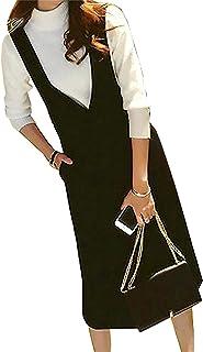 BESTDELIレディース セーター サロペット スカート ワンピース 二点セット ジャンバースカート ホワイト S~XL サイズ