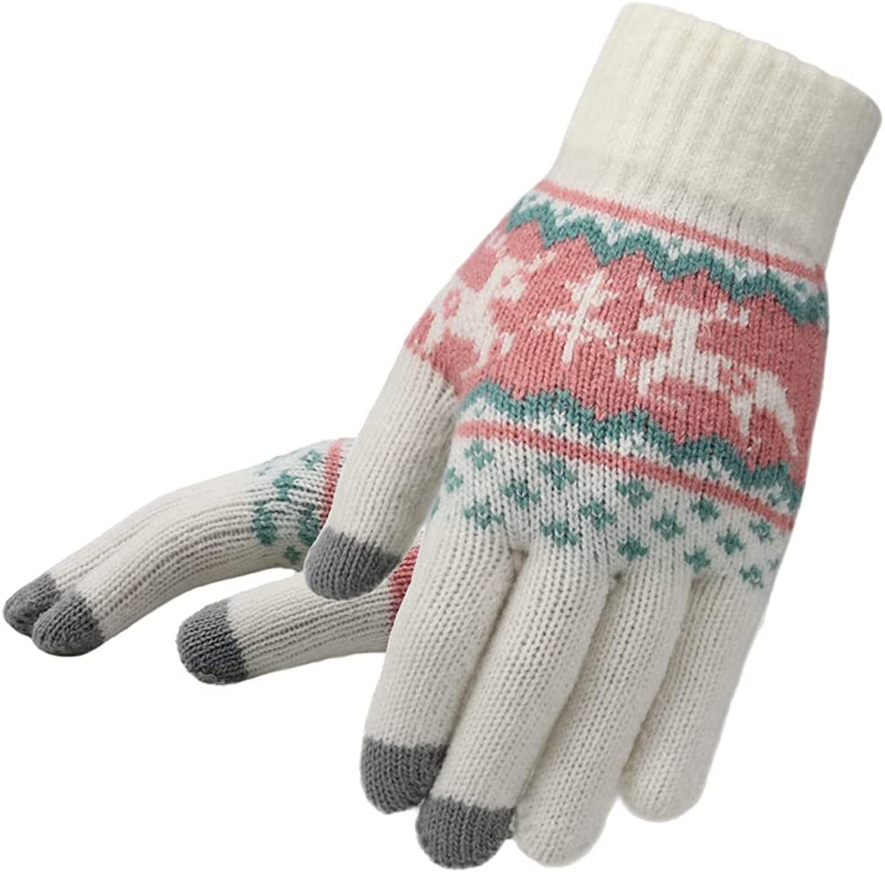 ADSVMEL Christmas Gloves Touch Screen Glove for Men and Women Elastic Cuff Thermal Soft Wool Lining Knit Stretchy Material Outdoor Shovel Snow Fight Driving