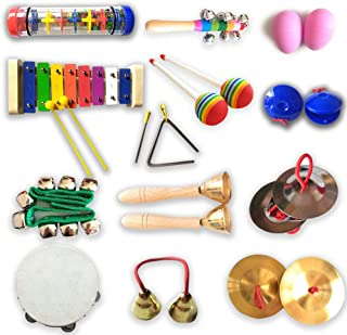 Kids Toys Baby Toy Music Instrument for Children Percussion Instruments for Kids Selected Musical Toys Set for Toddlers Xylophone Tambourine Triangle Bells Cymbals Egg Shakers Etc.13 Types 23 Pcs