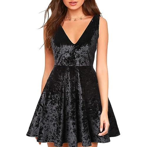 819c57f1259 Blooming Jelly Women s Velvet Deep V Neck Mini Dress Strappy Sleeveless Open  Back Elastic Pleated Zip