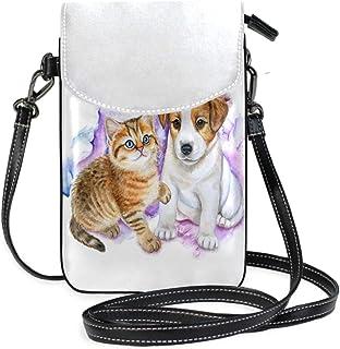 ZZKKO Mini-Umhängetasche für Hunde und Katzen, aus Leder, für Damen, für den Alltag, Reisen, Wandern, Camping