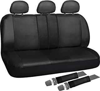 OxGord Back Seat Cover - PU Leather Solid Black Rear Bench Universal Fit Car, Truck, SUV, Van - 8 Piece