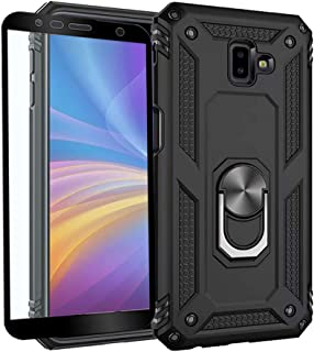 Strug for Samsung Galaxy J6 Plus / J6+ Case,Heavy Duty Shockproof Protection Built-in 360 Rotatable Ring Magnetic Car Mount Case Cover with Screen Protector for Samsung Galaxy J6 Plus 2018(Black)