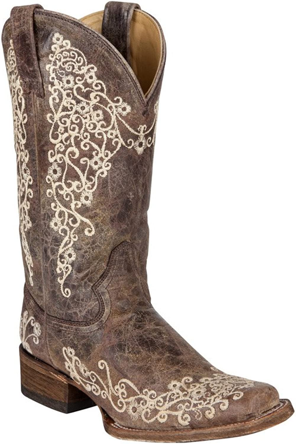 Corral Womens Brown Crater Bone Embroidery Square Toe Western Boot 9 B(M) US Brown