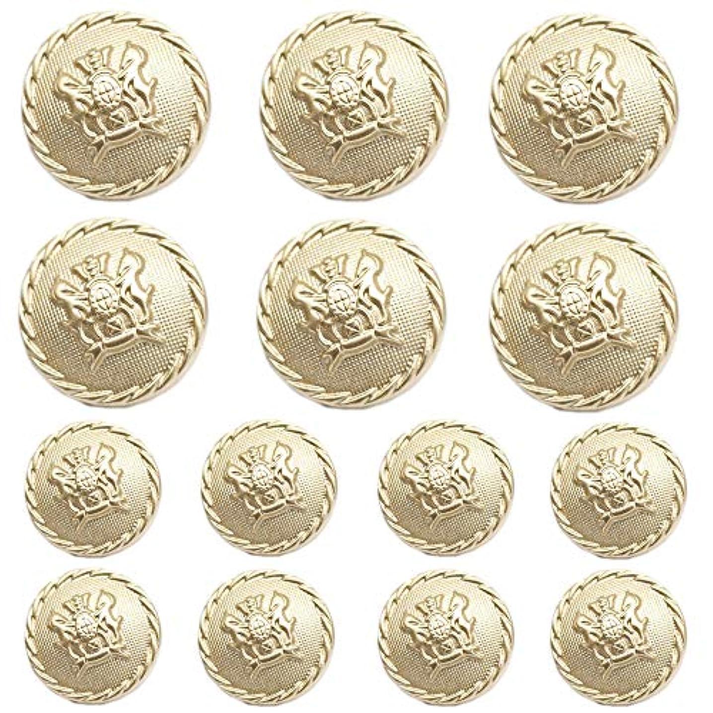 YaHoGa 14pcs Matte Gold Blazer Buttons for Suits Blazers Sport Coats 20mm 15mm Metal Shank Blazer Buttons Set for Sewing Coats Suits Blazers (MB20090)