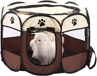 euwanyu Portable Kitten Playpen Foldable 8-Side Puppy Kitten Rabbit Guinea Pig Playpen Indoor Hamster Cage (Coffee)