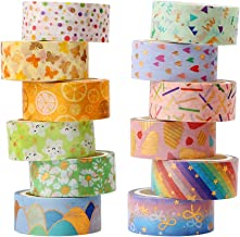 Washi Tapes, H HOME-MART 12 Rolls Washi Tape Set Decorative Washi Tape Cute Gold Foil Flower Decorative Masking Tape for D...