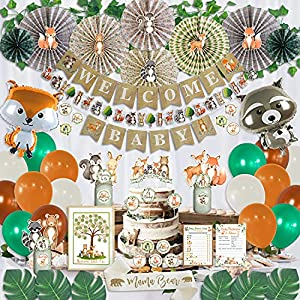 🐹218 PIECE MEGA BUNDLE: So much VALUE! With 218 different baby shower decoration woodland theme, this amazing mega bundle has everything you need to throw your dream baby shower. Get Rustic Welcome Baby party banner, garland, balloons, cake toppers, ...
