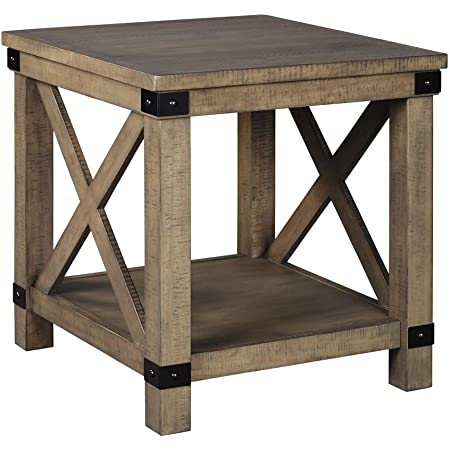 Amazon Com Signature Design By Ashley Aldwin Rectangular End Table Pine Wood Furniture Decor