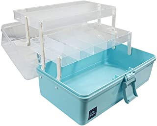 WEWLINE Plastic Storage Box 3-Layers Household Craft Supply Box Organizer with Handle,Portable Sewing Storage Bin for Home,School,Office,Travel