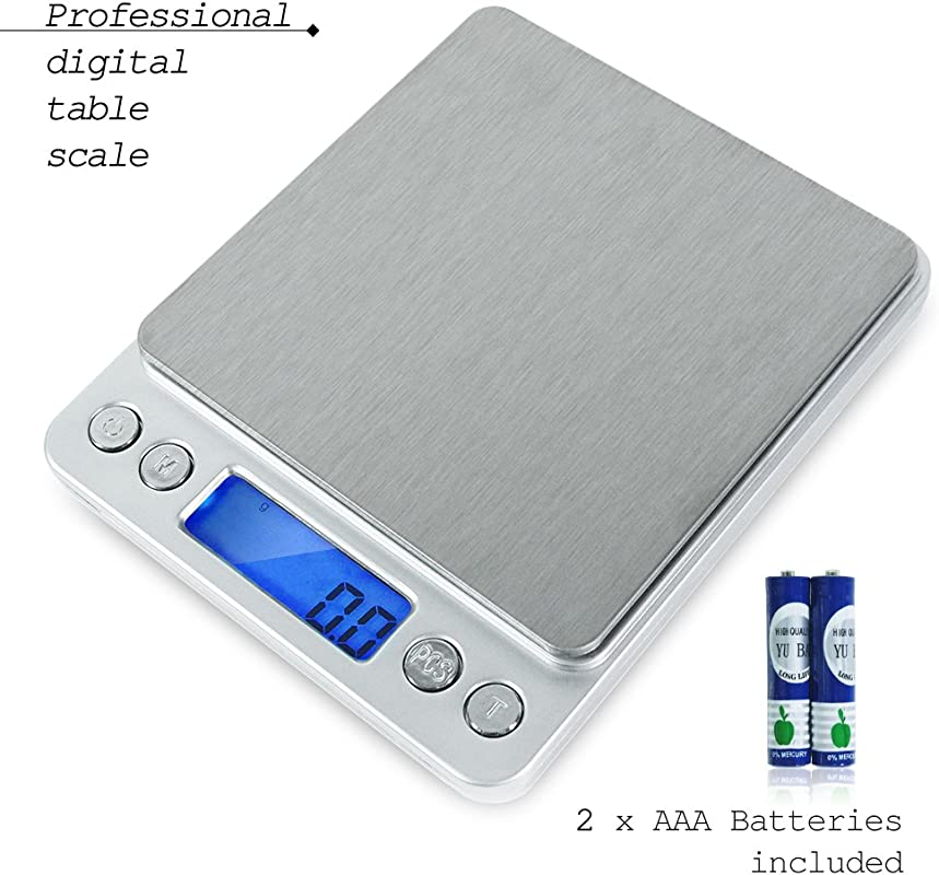 PARTYSAVING 2000g 0 1g Smart Digital Multifunction Stainless Steel Jewelry Kitchen Food Scale 0 001oz Resolution APL1358
