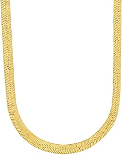 4.5mm-10.5mm 14k Yellow Gold Plated Flat Herringbone Chain 18