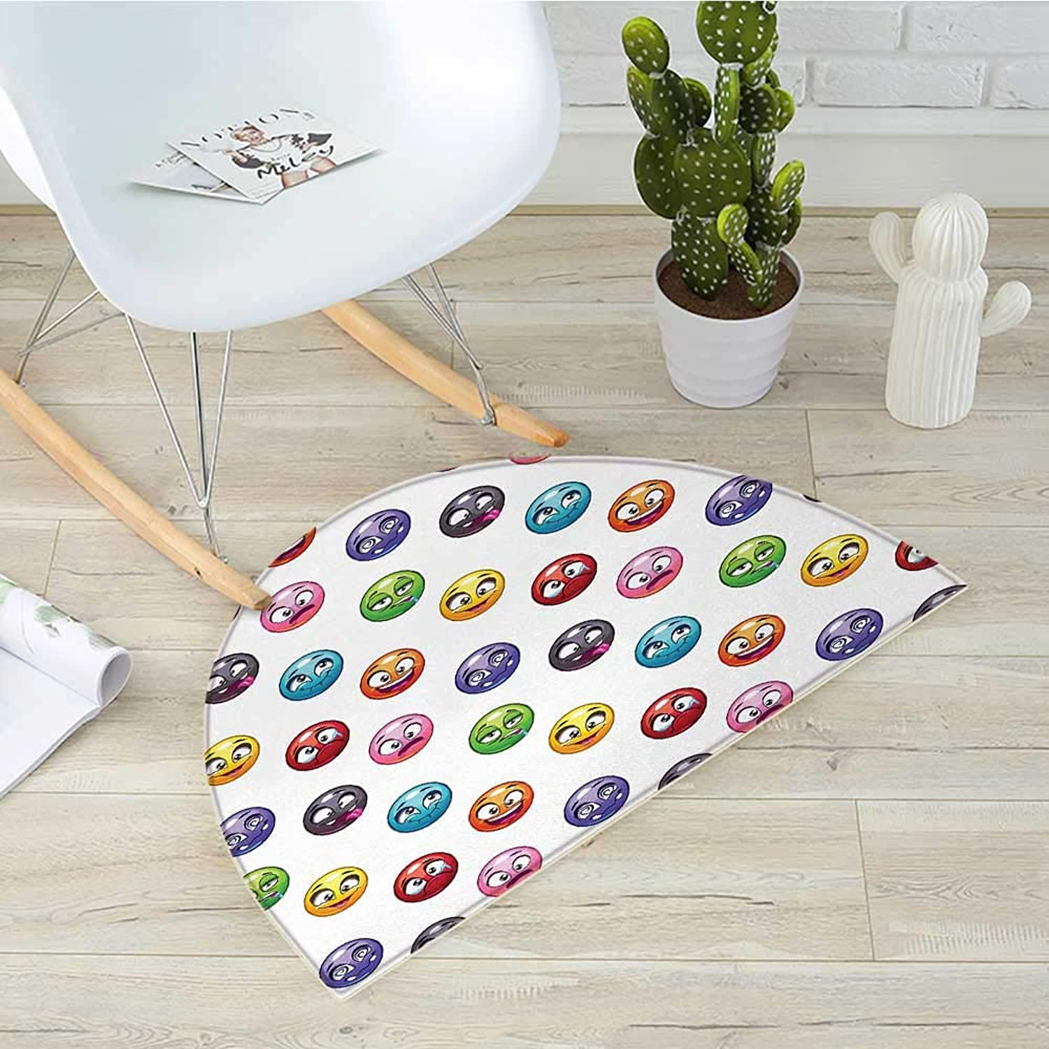 Emoji Semicircle Doormat Cartoon Faces in Different colors and Emotional States Crying Happy Tongue in Cheek Halfmoon doormats H 31.5  xD 47.2  Multicolor