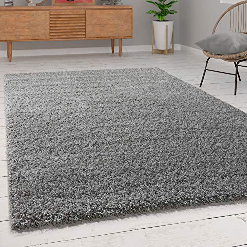 Paco Home Shaggy Hochflor Langflor Teppich Sky Einfarbig in Grau, Grösse:80x150 cm