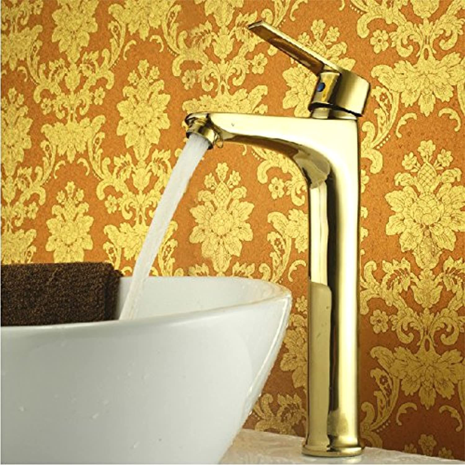 Maifeini Deluxe Brass Single Basin Mixer, gold-colord Washbasin Faucet,?Click Install On The Deck, Brass, Yellow