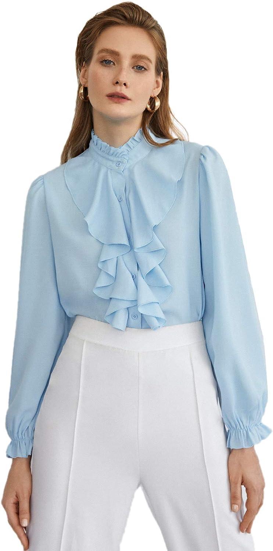 SheIn Women's Ruffle Trim Bishop Long Sleeve Mock Neck Blouse Work Button Shirt