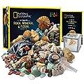 NATIONAL GEOGRAPHIC Rocks & Fossils Kit – 200 Piece Set Includes Geodes, Real Fossils, Rose Quartz, Jasper, Aventurine, & Many More Rocks, Crystals & Gemstones