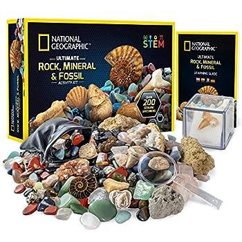 NATIONAL GEOGRAPHIC Rocks & Fossils Kit – 200+ Piece Set Includes Geodes Real Fossils Rose Quartz Jasper Aventurine & Many More Rocks Crystals & Gemstones