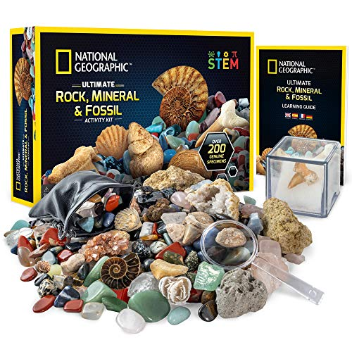 NATIONAL GEOGRAPHIC Rocks & Fossils Kit – 200 Piece Set Includes Geodes, Real Fossils, Rose Quartz, Jasper, Aventurine, & Many More Rocks, Crystals & Gemstones