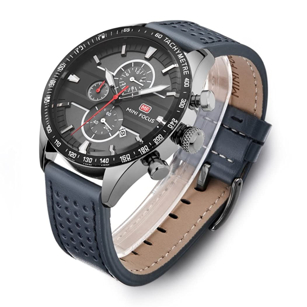 Men's Business Watches Luminous Waterproof Stylish Chronograph Dial Leather Band Sports Wrist Watch