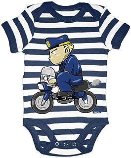 HARIZ Body para bebé a rayas de policía divertido, con tarjeta de regalo