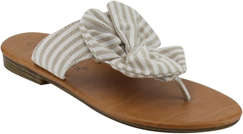 Nature Breeze Womens Bow Thong Fabric Denim Summer Beach Flip Flop Flat Sandal