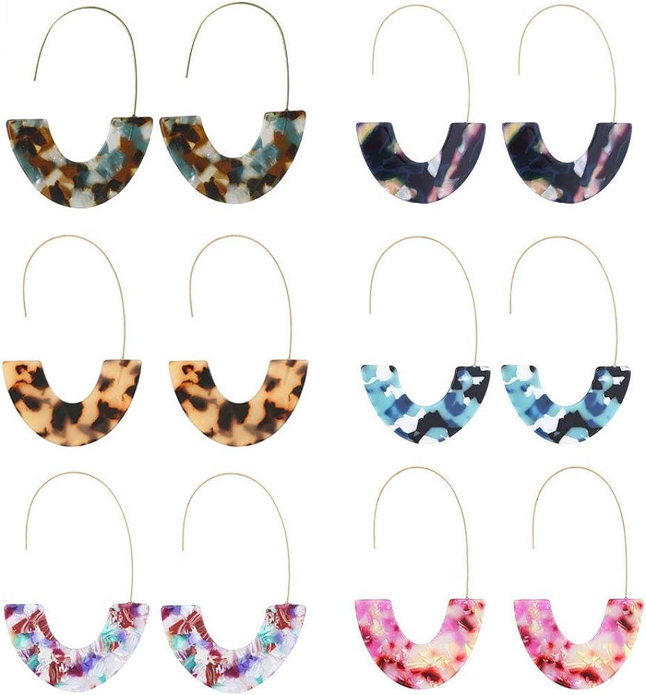 SMALLLOVE Acrylic Earrings Set for Women Girls, Leopard U Shape Geometric Resin Hoop Lightweight Bohemian Statement Mottled Drop Dangle Studs Earrings
