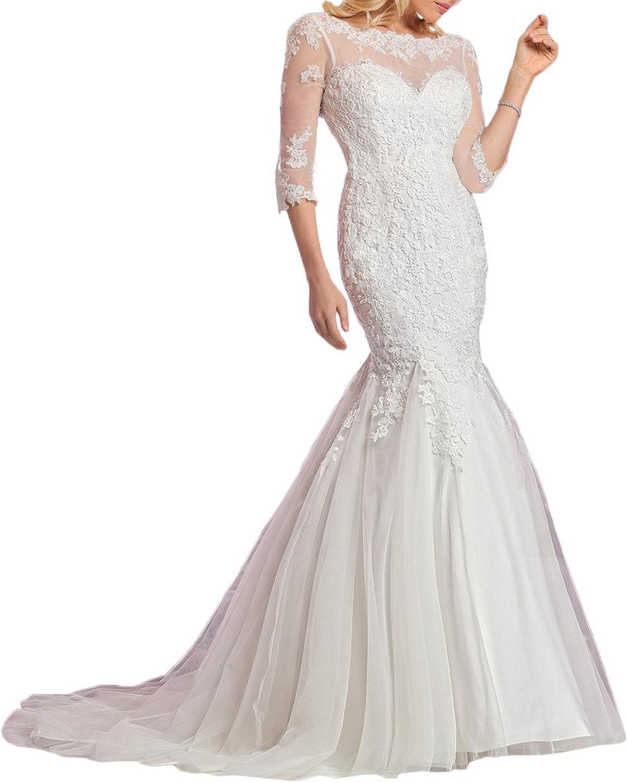 Avril Dress Romantic 3 4 Tulle Sleeves Bridal Satin Backless Mermaid Wedding Dress