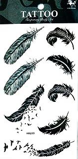 PP TATTOO 1 Sheet Sticker Bird Feather Tattoos Body Art Stickers Color Flash Fake Waterproof Tattoo Stickers for Women Men