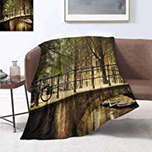 jecycleus Landscape Rugged or Durable Camping Blanket Romantic Bridge Over Canal Amsterdam Netherlands European Famous Northern City Photo Warm and Washable W60 by L70 Inch Cream