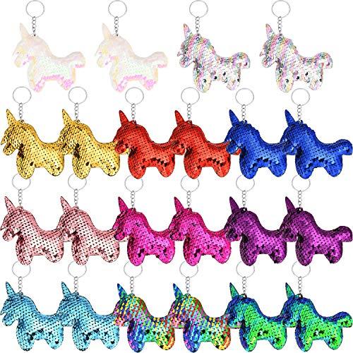 22 Piezas de Llavero de Unicornio Llavero de Lentejuelas Convertibles para Bolso Monedero Recuerdos de Fiesta, 11 Colores