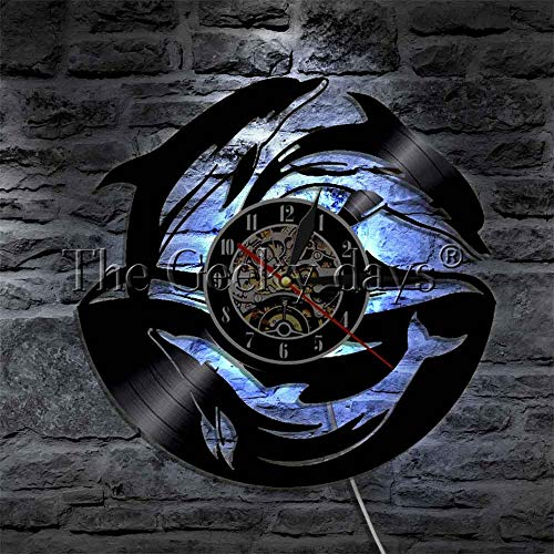 CXM WLONG ART Dolphin LED Wall Light Sea Ocean Animal Lover Decoración del hogar Arte de Pared Moderno Luz LED Reloj Decorativo LP con luz de Noche LED