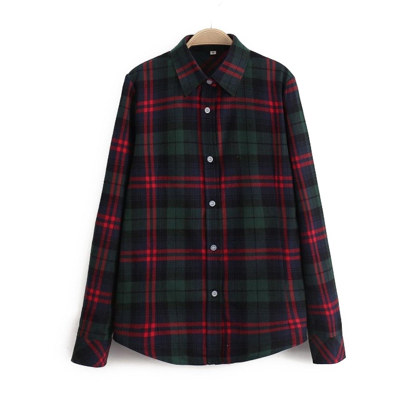 flowerjam レディース チェックシャツ 豊富なカラーバリエーション スリム加工 シャツ カジュアル オフィス 長袖