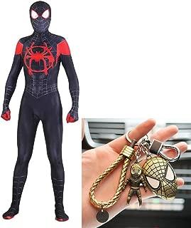 PIAOL Black Spider Man Tights Cosplay Adult Children's Costume Ball Halloween Jumpsuit Movie Mannequins + Spiderman Keychain Set,Black-XXXL