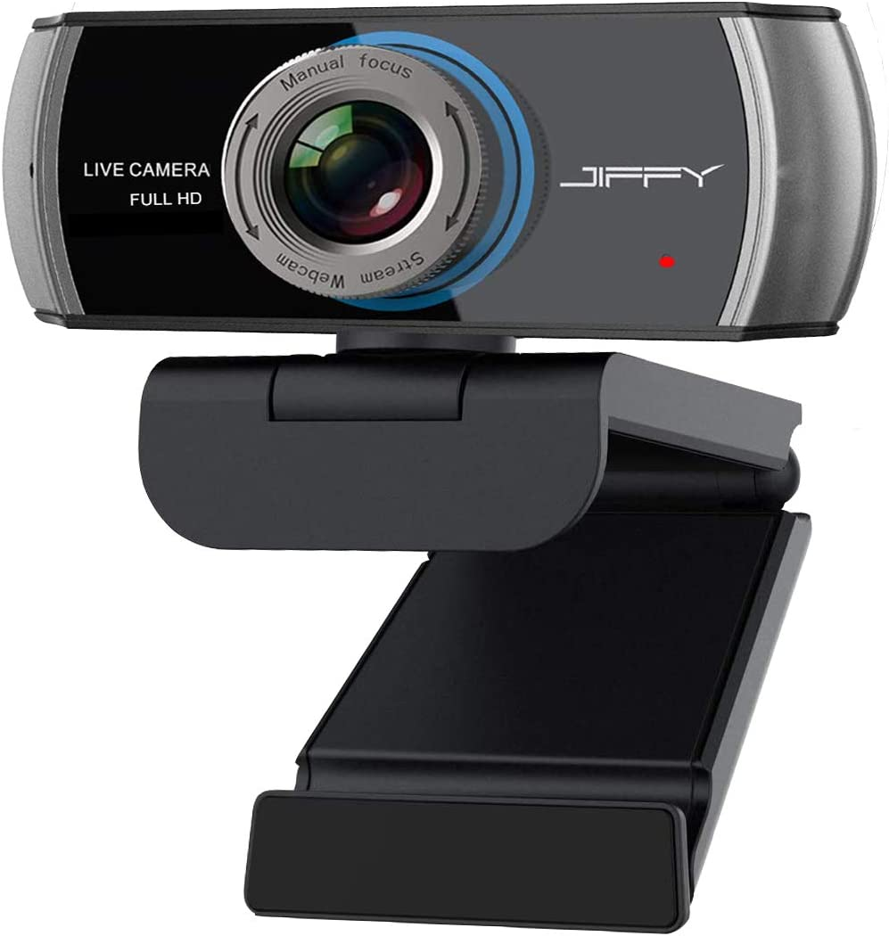 Webcam with Microphone,JIFFY HD 1080P Web Camera, Streaming for Video Conferencing/Recording/Online Teaching, Compatible with PC/Laptop/MC