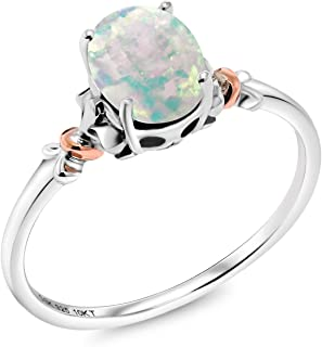 Gem Stone King 925 Sterling Silver and 10K Rose Gold Ring Oval Cabochon White Simulated Opal 0.63 cttw (Available 5,6,7,8,9)