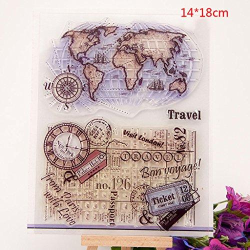 Dabixx - Timbri trasparenti con mappa del mondo, con sigillo in silicone trasparente per fai da te, album di ritagli, album fotografici, decorativi, 14 x 18 cm, 5,51 x 7,08