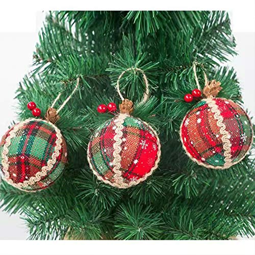 WENWELL 80mm/3.15' Buffalo Plaid Fabric Christmas Ball Ornaments,Reusable Rustic Xmas Tree Decoration Set,Gold & Blue & Green Check Burlap Hanging Decor for Holiday Wedding Party,3 Counts