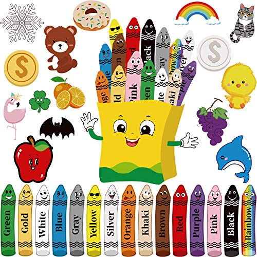 31 Pieces Colorful Crayons Bulletin Board Set Color Poster Crayons Colors Fruit Animal Cutout Resources Colors Cutout with Glue Point Dot for Educational Preschool Learning