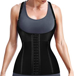 Yamadan Women Waist Trainer Weight Loss Shapewear Vest Plus Size Body Shaper Cincher with Adjustable Straps Hooks