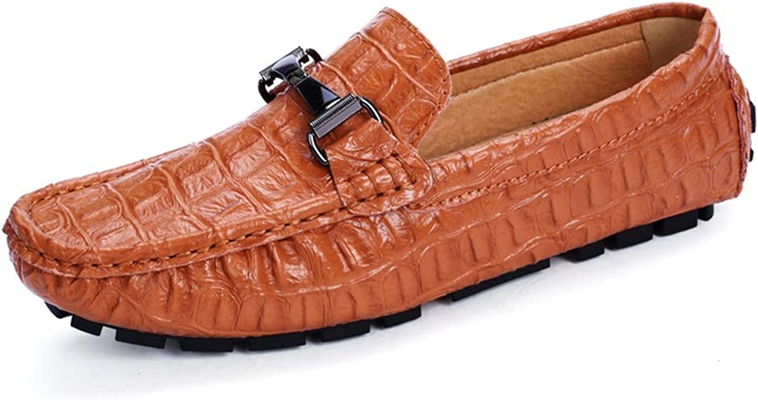 JUJIANFU-shoes Men's Driving Loafers Moccasin Slip on Oxfords Faux Fashion Crocodile Microfiber Leather Easy on & Off Boat shoes