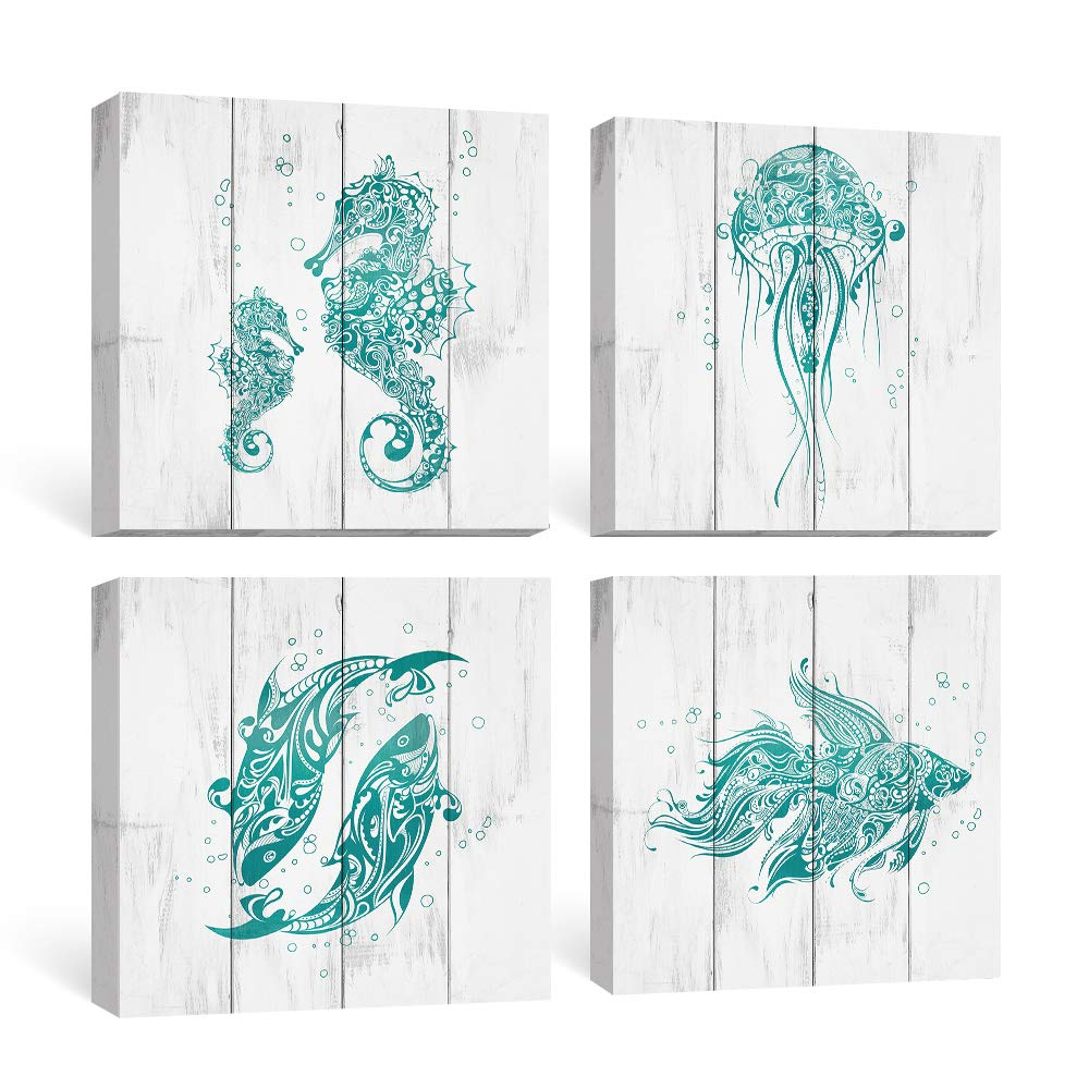 Amazon Com Sumgar Bathroom Wall Art Beach Canvas Paintings Blue Ocean Pictures Rustic Coastal Decor Turquoise Prints Teal Starfish Seahorse Artwork Set Of 4 Cottage Decoration 12x12 Inch Posters Prints