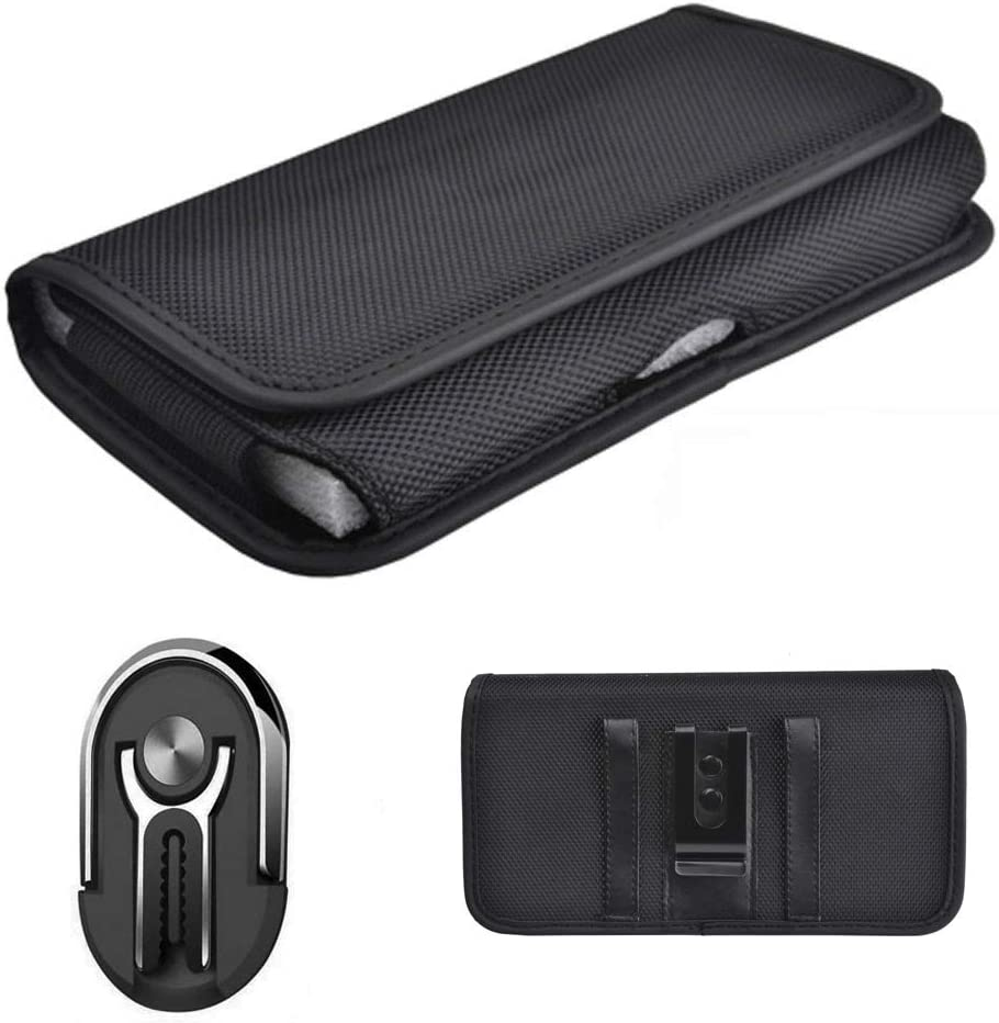 Pouch Case Compatible for AT&T Maestro Case (U202AA) Horizontal Canvas Pouch with Belt Clip Loop + 3in1 Ring Car Mount Phone Stand Finger Holder (3in1 Ring Black +Pouch Case)