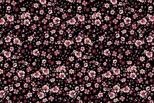 Jersey mit kleinen Blumen auf Schwarz als Meterware zum Nähen von Damen und Kinderkleidung, 50 cm