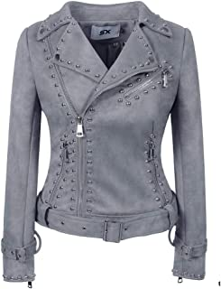 Women's Leather Jackets, Autumn and Winter Belt Studs, Fashion Lapels, PU Leather, Braided Chain Motorcycle Jackets,e,L