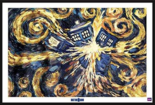 Doctor Who - Exploding Tardis - Film Poster Doctor Who Science-Fiction-Fernsehserie - Grösse 91,5x61 cm + Wechselrahmen, Shinsuke® Maxi Kunststoff schwarz, Acryl-Scheibe