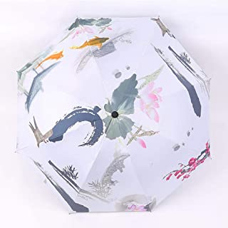 Automatic Folding Umbrella, Creative Ink Painting, Umbrella, Easy to Carry One-Button Open Suitable for Both Men and Women ,with Ergonomic Handle