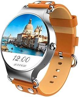 Mart Watch GPSポジショニングリアルタイム天気心拍数モニタリング歩数計Hdスクリーン3Gカードスマートウォッチ (色 : Silver Brown)