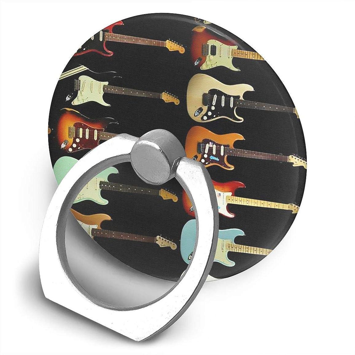 蒸し器絶え間ない悪性のカラフルなギター 360度回転 携帯リング スタンド スマホスタンド ホルダー 薄型 指輪 リング 携帯アクセサリースタンド機能 落下防止